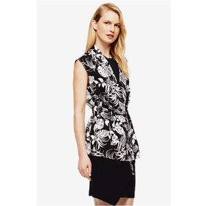 Vince Camuto Tropical Stencil Belted Vest Top